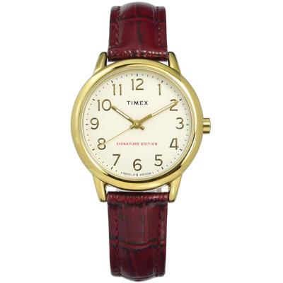 TIMEX 天美時 專利冷光照明 數字時標 真皮手錶-米x金框x咖啡紅/30mm