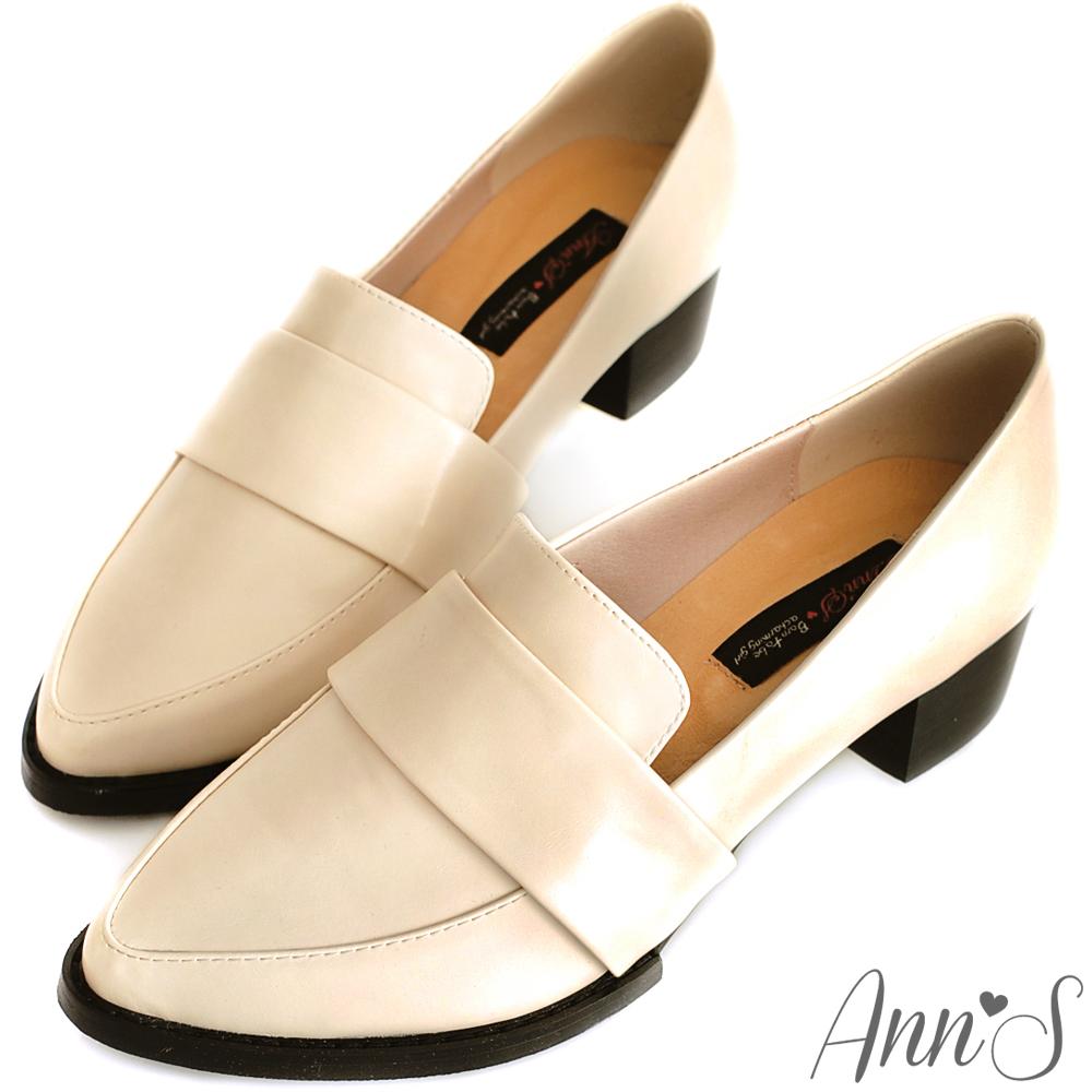 Ann'S時髦復古-韓系粗跟紳士休閒便鞋 復古米