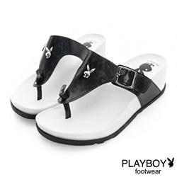 PLAYBOY 涼夏美學 簡約線條夾腳楔型拖鞋-黑(女)