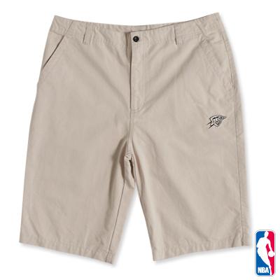 NBA-奧克拉荷馬雷霆隊細緻電繡休閒短褲-卡其(男)