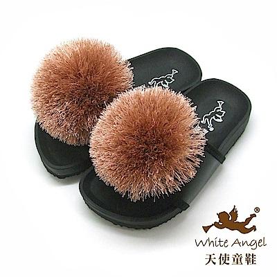 天使童鞋 好新晴蒲公英親子拖鞋(中童)J898-可可色