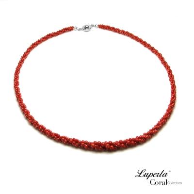 大東山珠寶 天然全紅沙丁珊瑚項鍊3條轉 深紅19004