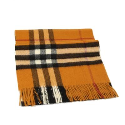 BURBERRY 經典格紋喀什米爾羊毛圍巾(琥珀色)