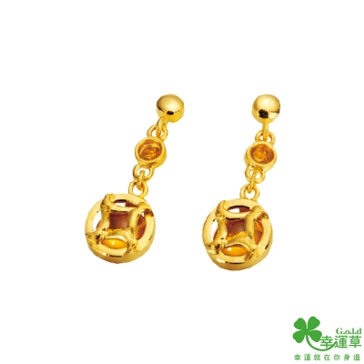 幸運草 富麗黃金/水晶耳環