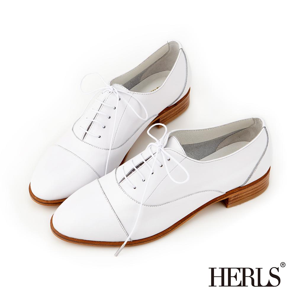 HERLS 全真皮簡約紳士牛津鞋-白色