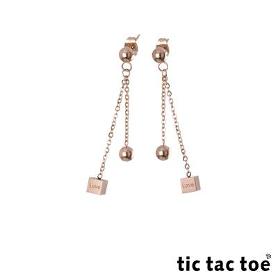 tic tac toe 垂吊式白鋼耳環系列-愛