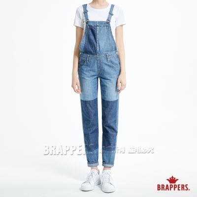 BRAPPERS 女款 Boy friend 系列-女用拼色吊帶八分褲-藍