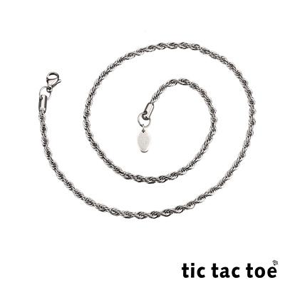 tic tac toe 白鋼造型單鍊-編繩(大)