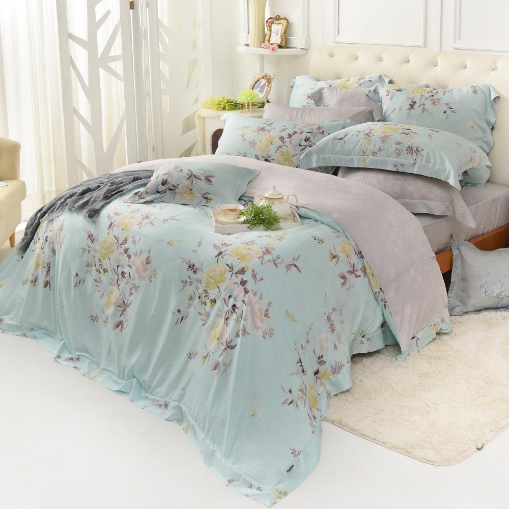義大利La Belle 春氛絮影 雙人天絲四件式防蹣抗菌舖棉兩用被床包組