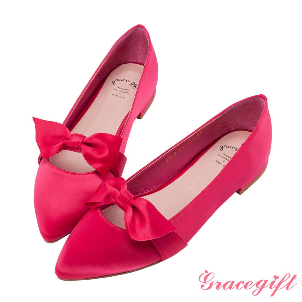 Grace gift-緞面蝴蝶結條帶平底鞋桃