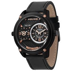 POLICE 捍衛戰警雙時區皮革手錶-黑 /50mm