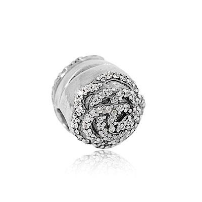 Pandora 潘朵拉 圓形鑲鋯玫瑰 夾扣式 純銀墜飾 串珠