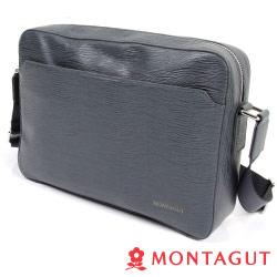 MONTAGUT夢特嬌-Cross Bag頭層牛皮橫式側包(水波紋)-大