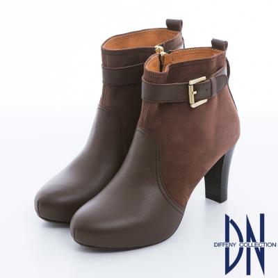 DN 典藏風尚 質感真皮金色單釦高跟踝靴 咖