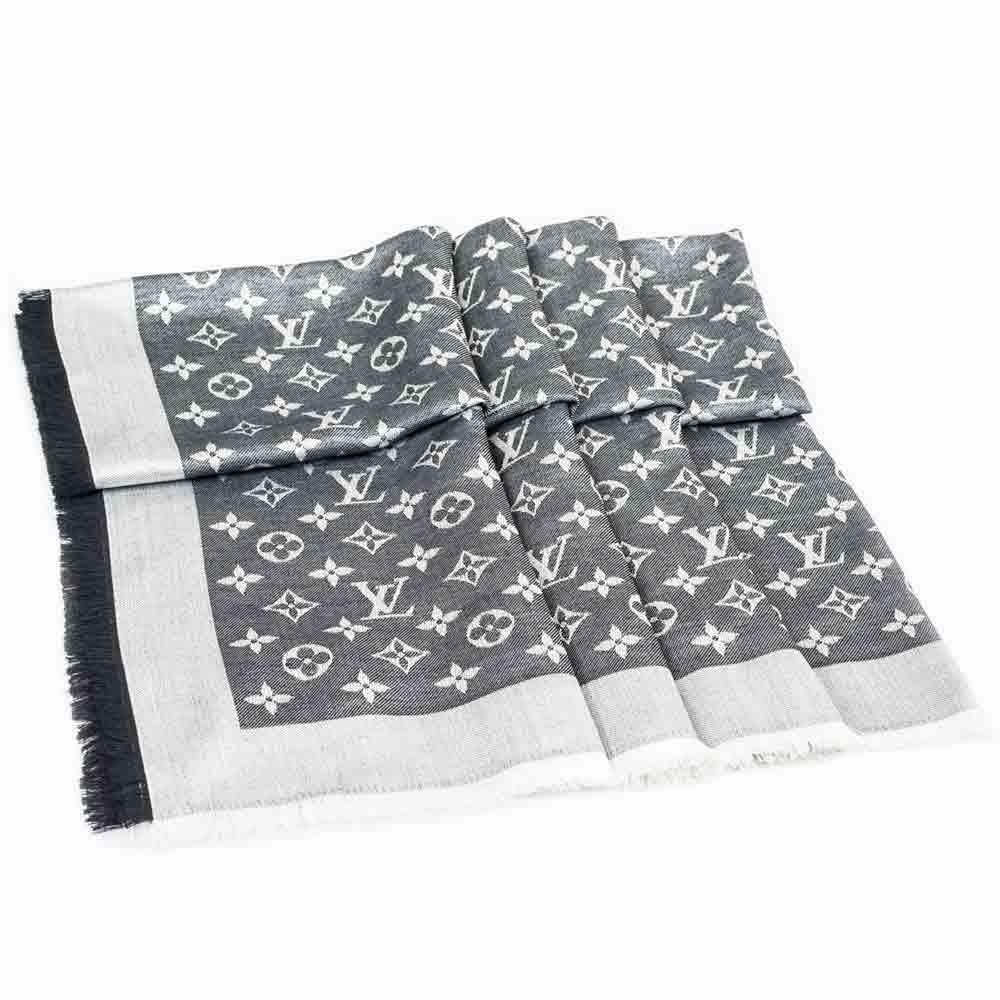 LOUIS VUITTON M71378 經典MONOGRAM 花紋披肩圍巾(丹寧黑)