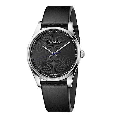 CK CALVIN KLEIN Steadfast 堅定系列放射太陽紋黑色面盤手錶-40mm