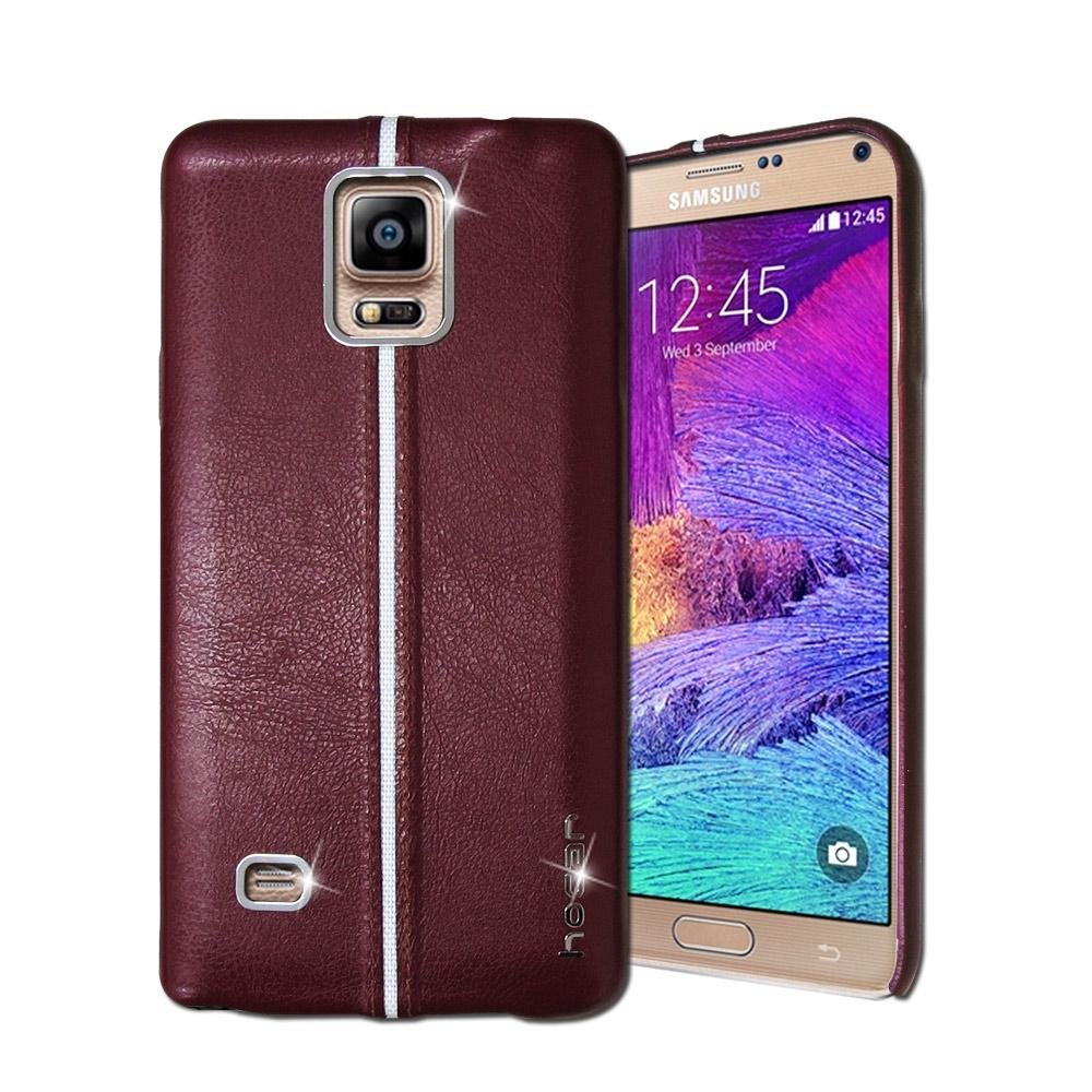 HOCAR Samsung Galaxy Note4 爵士皮革保護手機殼(暗紅)