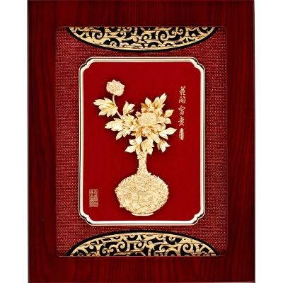 雅鑑鑫品金箔畫平安系列 ~牡丹【花開富貴】...27x34cm