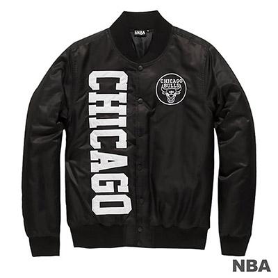 NBA-芝加哥公牛隊繡字防風外套-黑 (男)