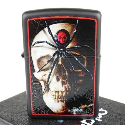 【ZIPPO】美系~Mazzi-Skull & Spider-骷髏蜘蛛圖案設計打火機