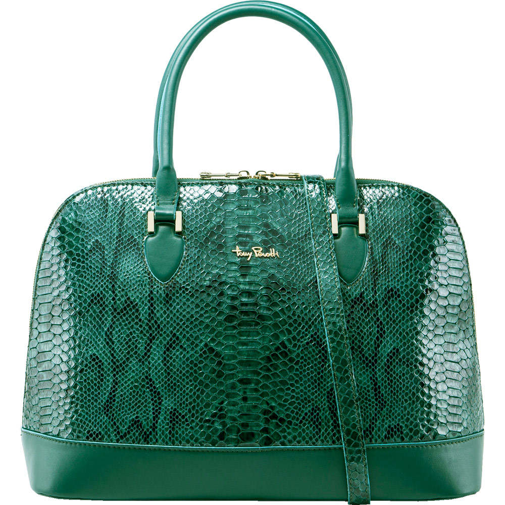TONY PEROTTI 義大利蟒蛇紋牛皮 肩背/手提貝殼包 #9739G ( 湖綠色 )