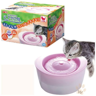 日本GEX 貓用-淨水飲水器 1.8L(粉紅色)附濾網一片
