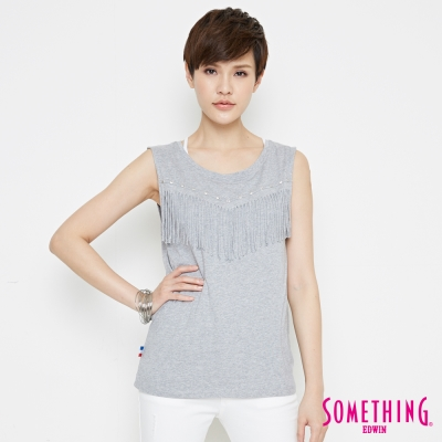 SOMETHING 復古流蘇隨性T恤-女-灰色