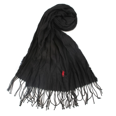 RALPH LAUREN POLO 素面皺摺刺繡LOGO圍巾-黑色