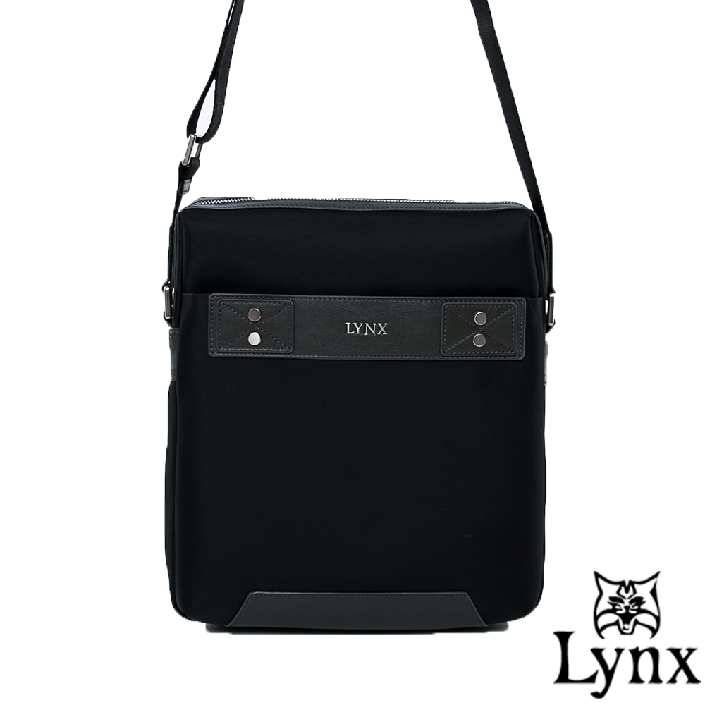 Lynx - 山貓紳士極簡風格直式真皮斜側背包(大)-沉穩灰