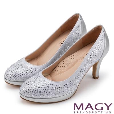 MAGY 奢華晚宴風 閃亮燙鑽性感夢幻高跟鞋-銀色