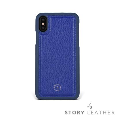STORYLEATHER iPhone X 後背保護殼 荔枝紋電光藍現貨皮套