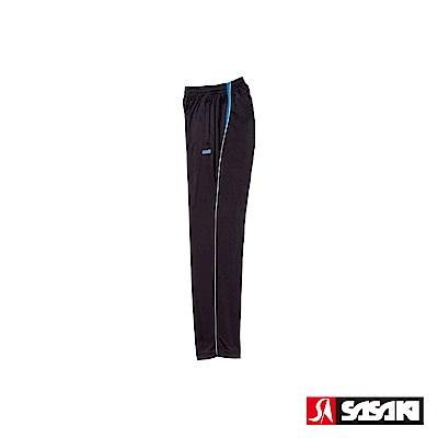SASAKI 快速排汗伸縮功能針織運動長褲-男-黑/亮藍