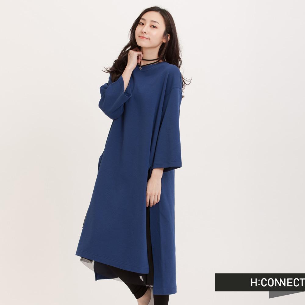 H:CONNECT 韓國品牌 女裝 - 雙邊高衩短袖洋裝-藍