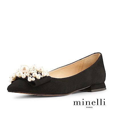 Minelli--西班牙製造 珍珠裝飾全真皮尖頭平底鞋-優雅黑