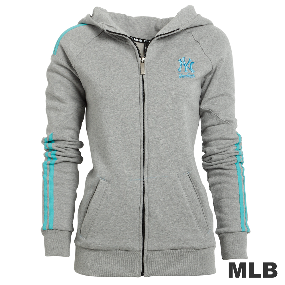 MLB-紐約洋基隊撞色色條外套-灰(女)