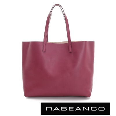 RABEANCO 迷時尚系列牛皮撞色素面肩背包 - 酒紅