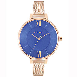 GOTO 新●緣起不滅時尚手錶-IP玫x藍/36mm