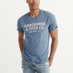 A&F 經典刺繡文字短袖T恤-藍色 AF Abercrombie