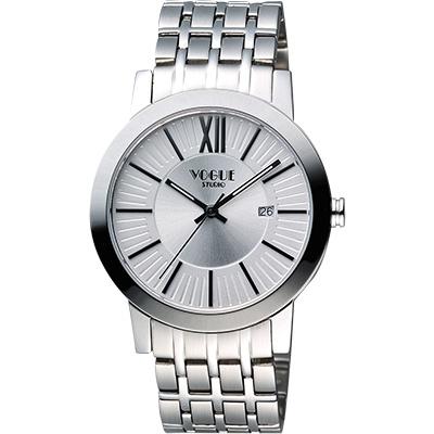VOGUE 尊爵時尚羅馬腕錶-銀/40mm