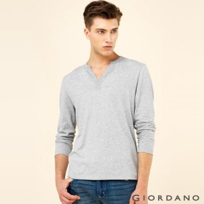 GIORDANO 男裝簡約素色羅紋亨利領長袖T恤 - 02 中花灰色