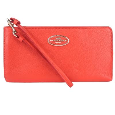 COACH-全皮革橢圓標L型手掛大手拿包-橘
