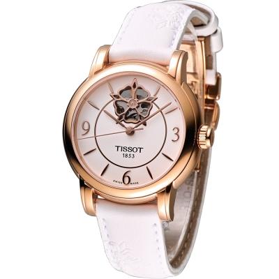 TISSOT Lady Heart 瑰麗藝術鏤空機械腕錶-白x玫瑰金框/35mm
