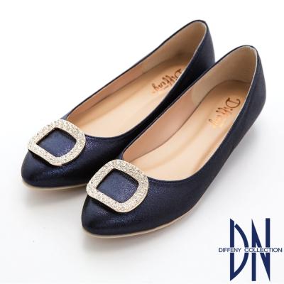 DN 典雅名媛 晶鑽方釦內增高平底鞋-藍