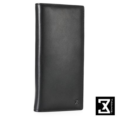 74盎司 Plain 系列平紋真皮長夾[N-466]黑色
