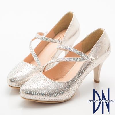 DN-高貴華麗-耀眼鑽飾珠光晚宴高跟鞋-金