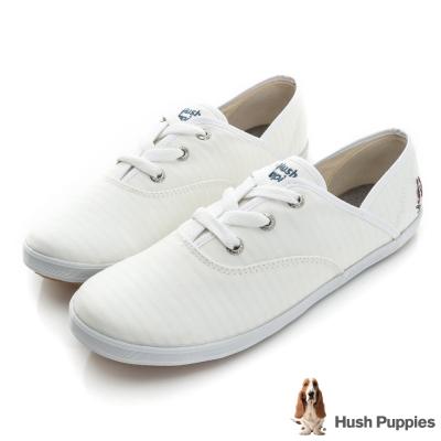 Hush Puppies 極簡淺條咖啡紗帆布鞋-白色