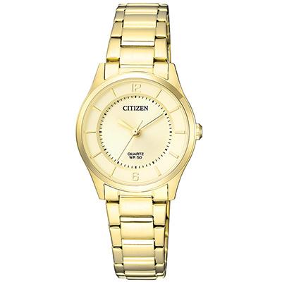 CITIZEN星辰 閃耀金色錶帶雅緻女仕手錶(ER 0203 - 85 P)-金/ 27 mm