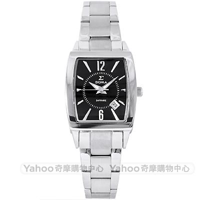 SIGMA 質感簡約時尚方錶手錶-黑X銀/33mm
