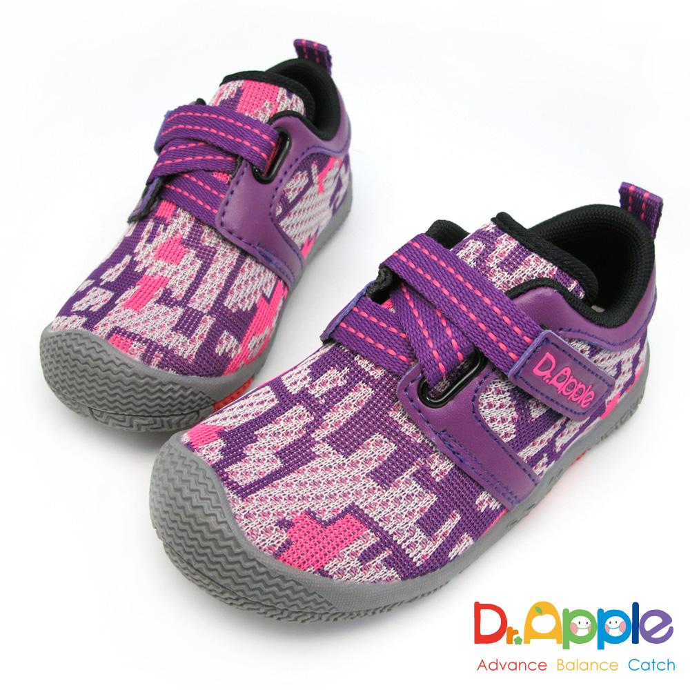 Dr. Apple 機能童鞋 幾何迷彩針織運動鞋-紫