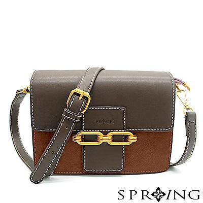 SPRING-網路獨家-法式浪漫側背小方包-優雅棕